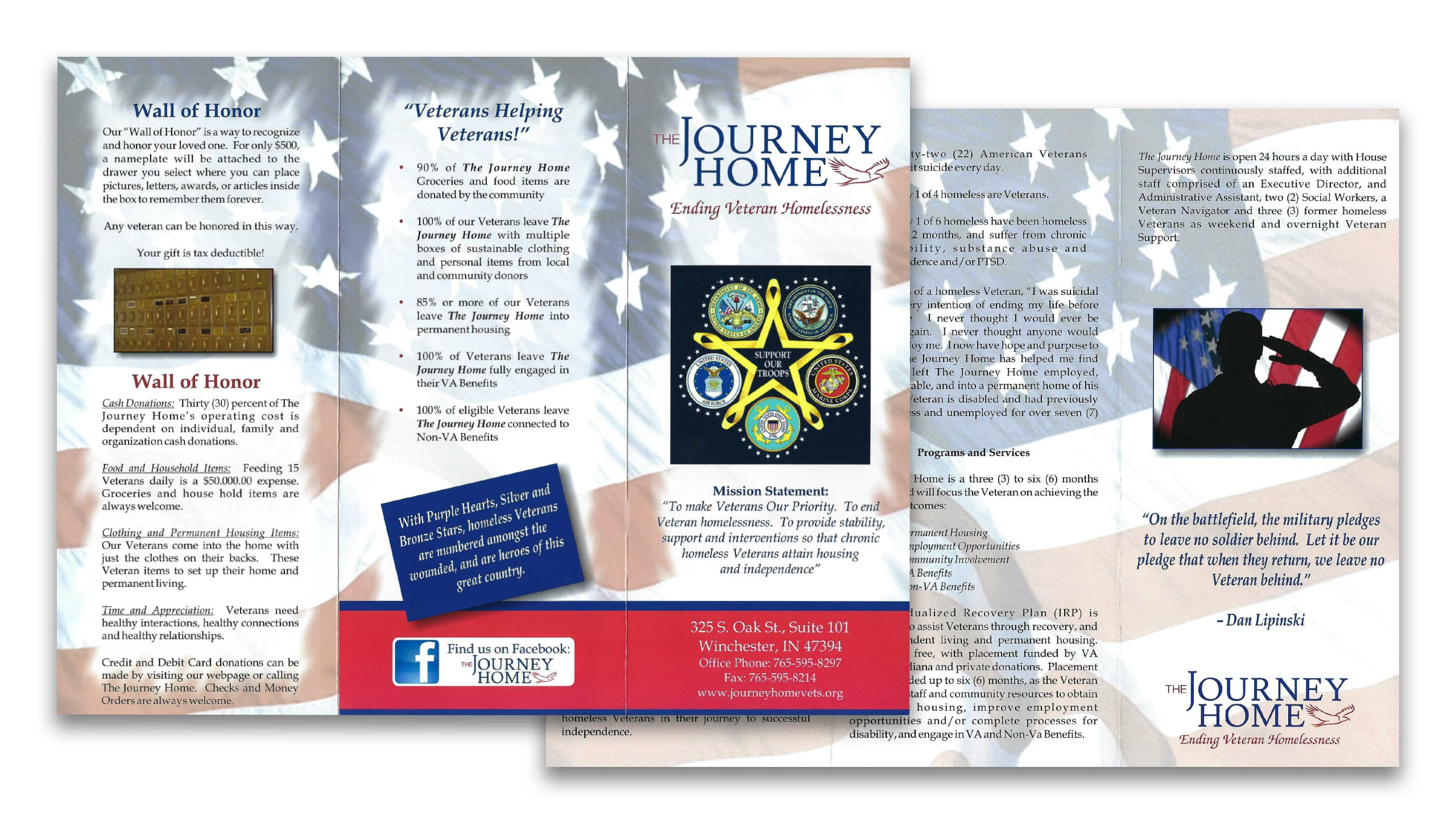 Preview of the front and back of The Journey Home's brochure